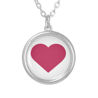Simple Berry Magenta Modern Heart Round Pendant Necklace
