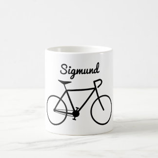 Simple Bicycle Silhouette + Personalized Name Coffee Mug