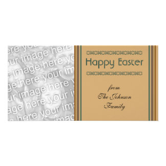 Simple biege Happy Easter Photo Card Template