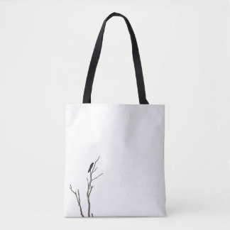 Simple Bird on a Branch Tote Bag