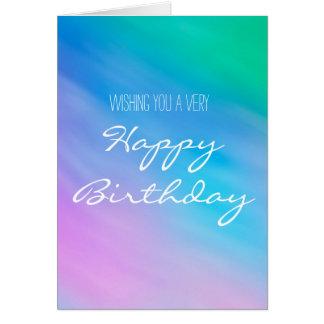 Simple Birthday Card with Soft Rainbow Sky Artwork