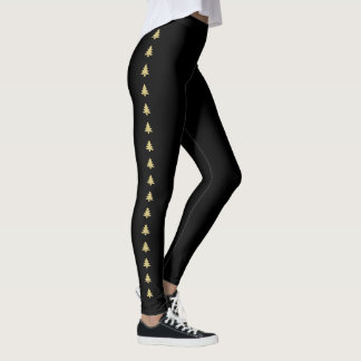 Simple Black and Gold Christmas Tree Stripes Leggings