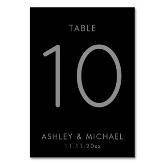 Simple Black And Grey Table Number Cards