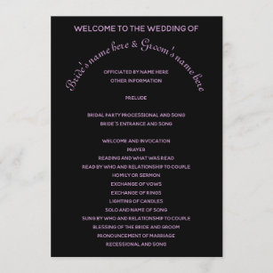 Simple black and purple wedding program