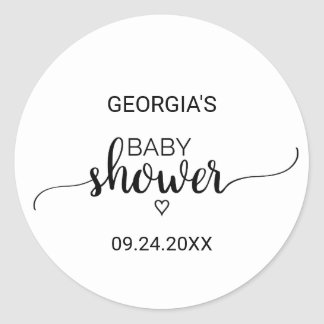 Simple Black and White Calligraphy Baby Shower Classic Round Sticker