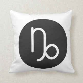 Simple Black and White Capricorn Pillow. Throw Pillow