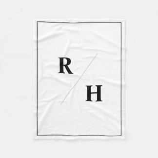 Simple, Black and White Couple Initials Blanket