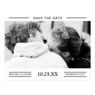 Simple Black and White Couple Photo Save The Date Postcard