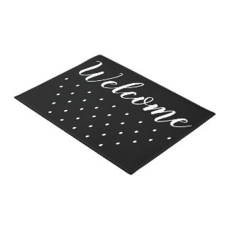Simple Black And White Dots Welcome Doormat