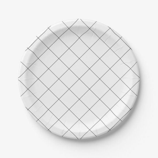 Simple Black and White Grid, Plaid 7 Inch Paper Plate