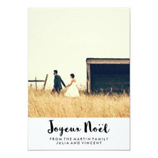 "Simple Black and White Joyeux Noël with Photo 5"" X 7"" Invitation Card"