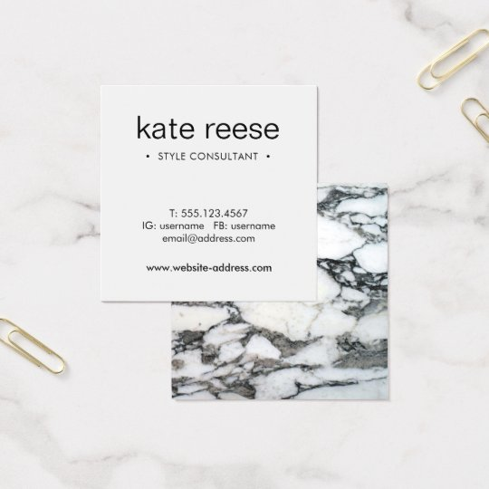 Simple Black and White Marble Professional Square Business Card