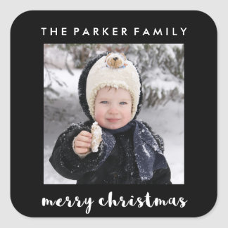 Simple Black and White Merry Christmas | Photo Square Sticker