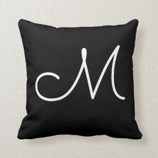 simple black and white monogram M initial letter Throw Pillow