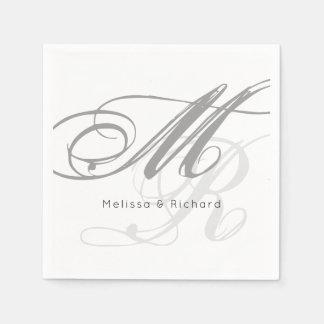 simple black-and-white monogram paper napkin