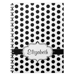 Simple Black and White Polka Dot Basic Pattern Notebooks