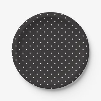Simple Black and White Polka Dots Paper Plates