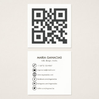 Simple Black and White QR Code Business Card