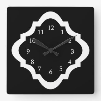 Simple Black And White Quatrefoil Pattern Wall Clocks