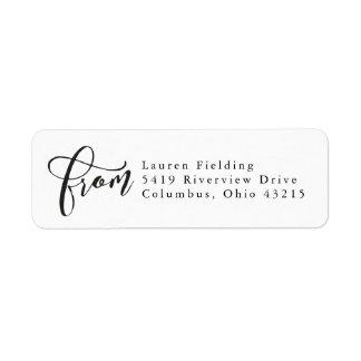 Simple black and white return address label
