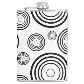 Simple Black and White Rings Hip Flask