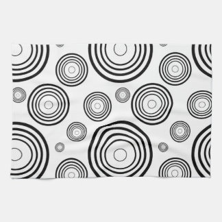 Simple Black and White Rings Kitchen Towel