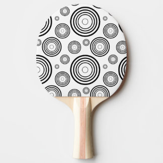 Simple Black and White Rings Ping Pong Paddle