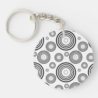 Simple Black and White Rings Single-Sided Round Acrylic Keychain