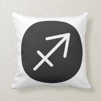 Simple Black and White Sagittarius Pillow. Throw Pillow