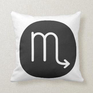 Simple Black and White Scorpio Pillow. Throw Pillow