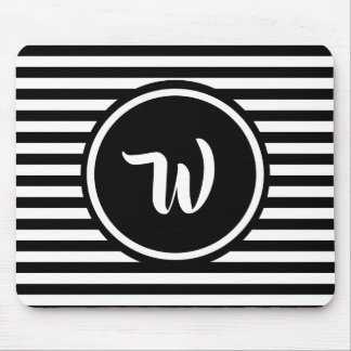 Simple Black and White Stripes Striped Initials Mouse Pad