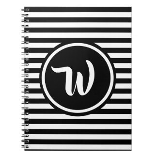Simple Black and White Stripes Striped Initials Notebook