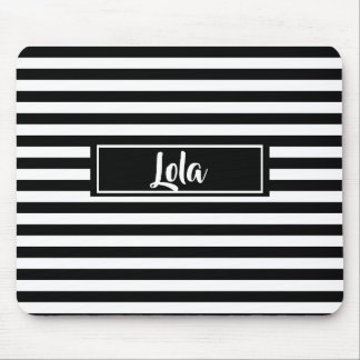 Simple Black and White Stripes Striped Name Mouse Pad