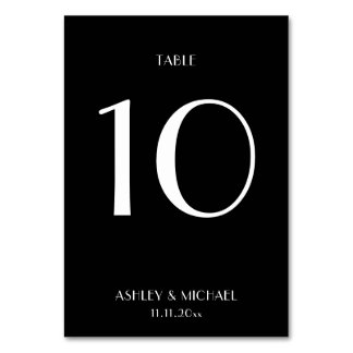 Simple Black And White Table Number Cards