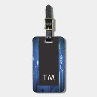 Simple Black Blue Circuit Board Monogram Luggage Tag