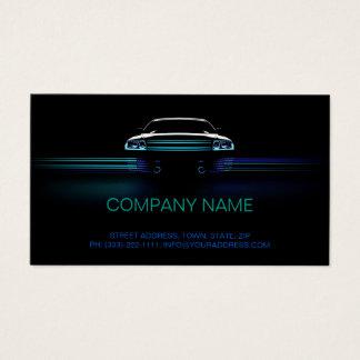 Simple Black Blue Gradient Line Car Business Card