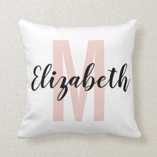 Simple Black Blush Pink Hand Script Monogram Throw Pillow