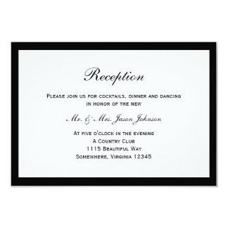 Simple Black Border Wedding Reception Card