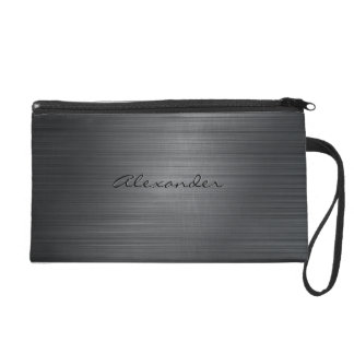 Simple Black Brushed Metal look-Monogram Wristlet