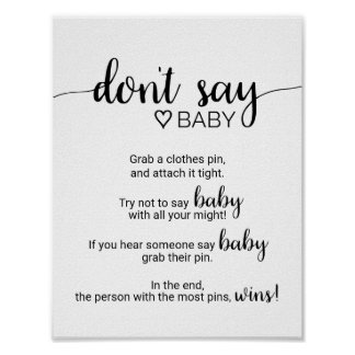 Simple Black Calligraphy Don't Say Baby Sign