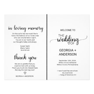 Simple Black Calligraphy Folded Wedding Program