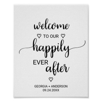 Simple Black Calligraphy Happily Ever After Poster