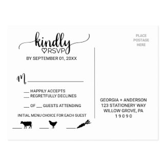 Simple Black Calligraphy Meal Choice Icon RSVP Postcard
