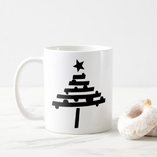 Simple Black Christmas Tree with a Star Coffee Mug