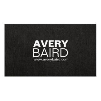 Simple Black Faux Linen Professional Business Card