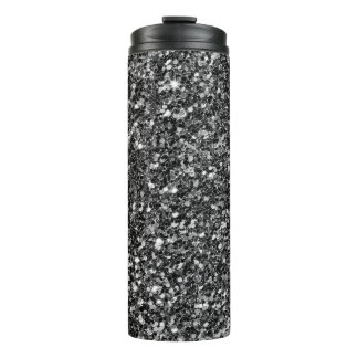 Simple Black Glitter And White Sparks Thermal Tumbler