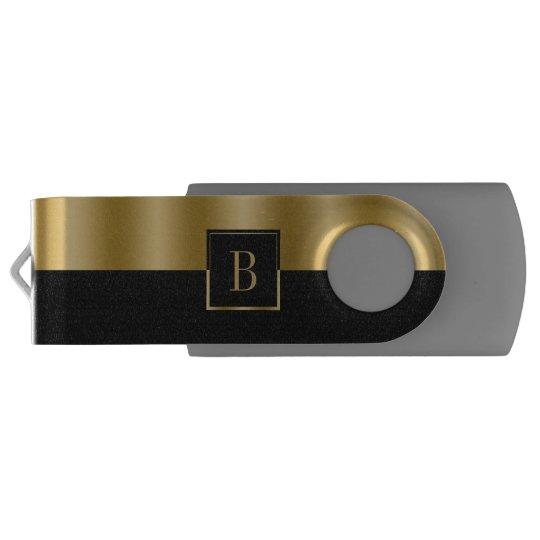 Simple Black & Gold Geometric Design Monogram Swivel USB 3.0 Flash Drive