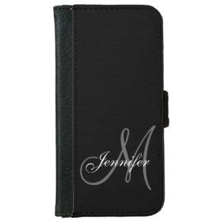 SIMPLE, BLACK, GREY YOUR MONOGRAM YOUR NAME iPhone 6 WALLET CASE