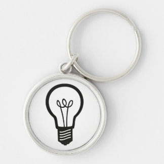 Simple Black Light Bulb for Many Creative Ideas Silver-Colored Round Keychain