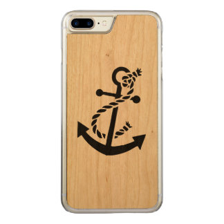 Simple Black Nautical Boat Anchor Carved iPhone 7 Plus Case